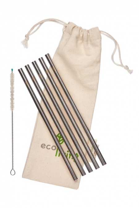 5 Stainless Steel Smoothie Straight Drinking Straws with Plastic-Free Cleaning Brush & Organic Carry Pouch