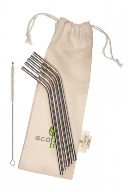 5 Stainless Steel Bent Drinking Straws with Plastic-Free Cleaning Brush & Organic Carry Pouch
